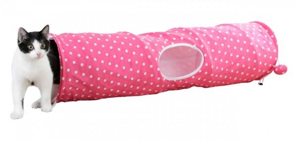 Katzentunnel Puntino pink/ weiß